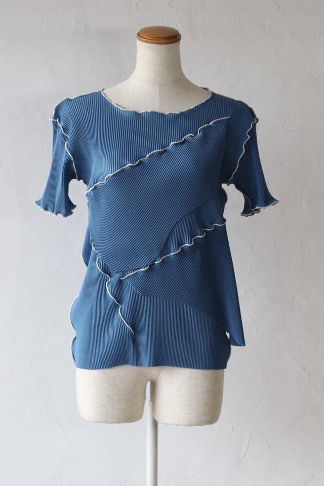 【kotohayokozawa】pleats top short sleeve-blue
