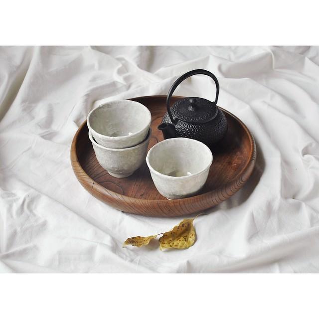 【Perl tea cup & saucer 2set】ラスターコーティング