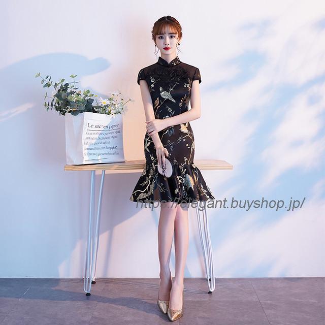 フィッシュテールドレス 膝丈チャイナドレス チャイナ風服 お呼ばれドレス パーティー 二次会 イブニングドレス 大きいサイズ S M L LL 3L 4L ブラック 黒い スリム