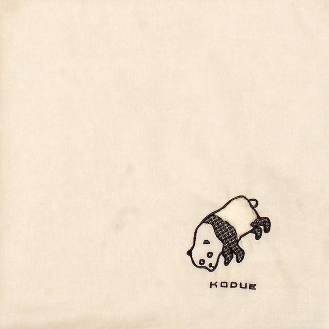 ひびのこづえ ハンカチ ふくらまし / パンダ ベージュ 刺繍入り 2枚合わせ 48x48 cm KH07-02