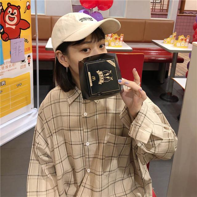【送料無料】デイリーコーデに ♡ カジュアル 大人可愛い オーバーサイズ チェック柄 シャツ ブラウス トップス