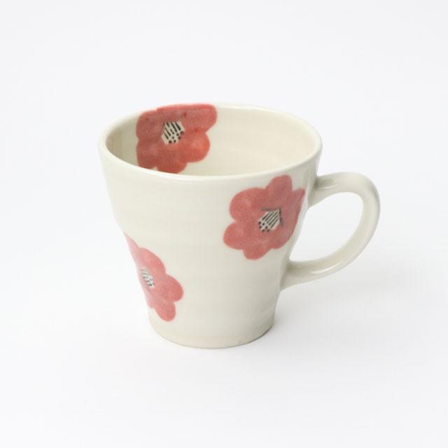 【SL-0073】磁器 マグカップ 白×ピンク 椿