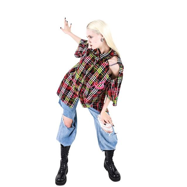 【PINKSPINK】チェック柄ショルダーチェーンシャツ