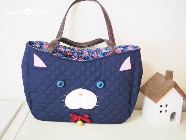 【再販】モコモコころんっ♪ちょっぴり猫型バッグ(レッドチェック・USAコットン)