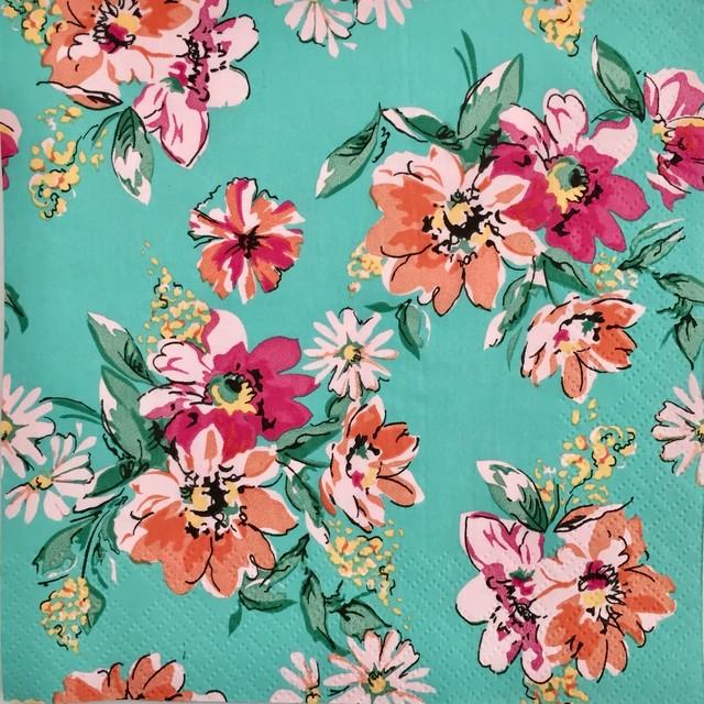 完売再入荷【Daisy】バラ売り2枚 ランチサイズ ペーパーナプキン FLOWER MEADOW ターコイズ
