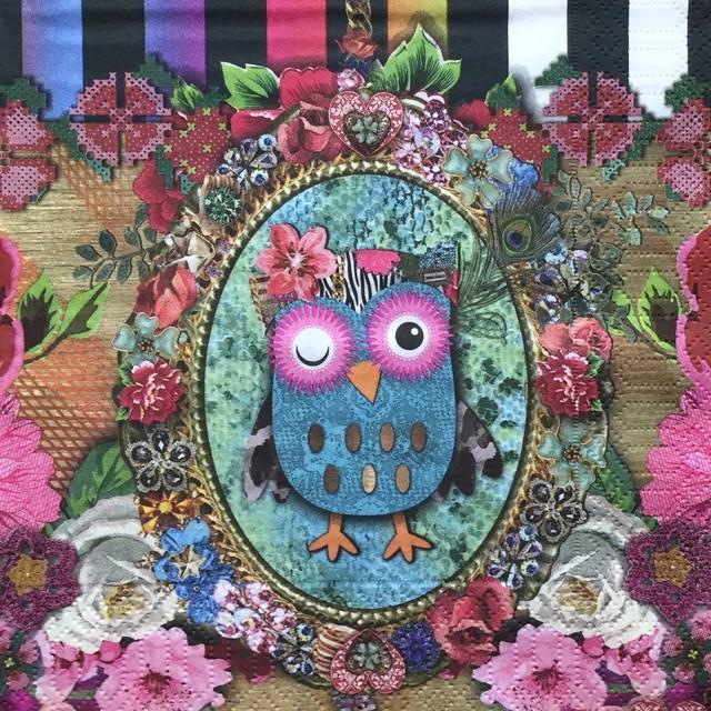【Duni】バラ売り2枚 ランチサイズ ペーパーナプキン OWLIE ブラック