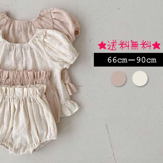 【66cm-90cm】 トップス+ショットパンツ 2点セット  (130)