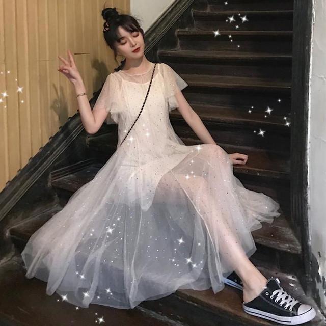 【送料無料】パーティーや二次会に♡ キラキラ シフォン シースルー ロングワンピース