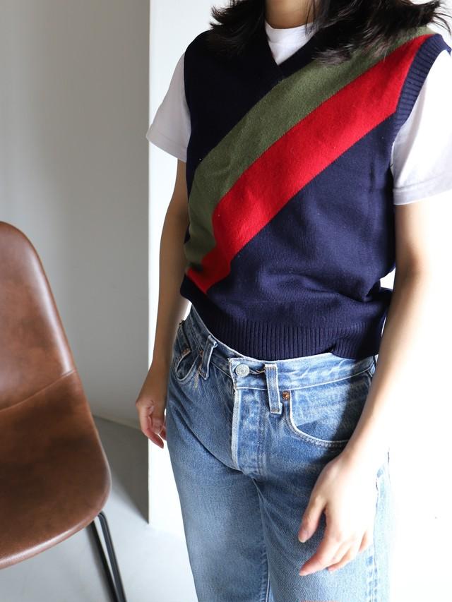 Select vintage knit vest  / Red × Green