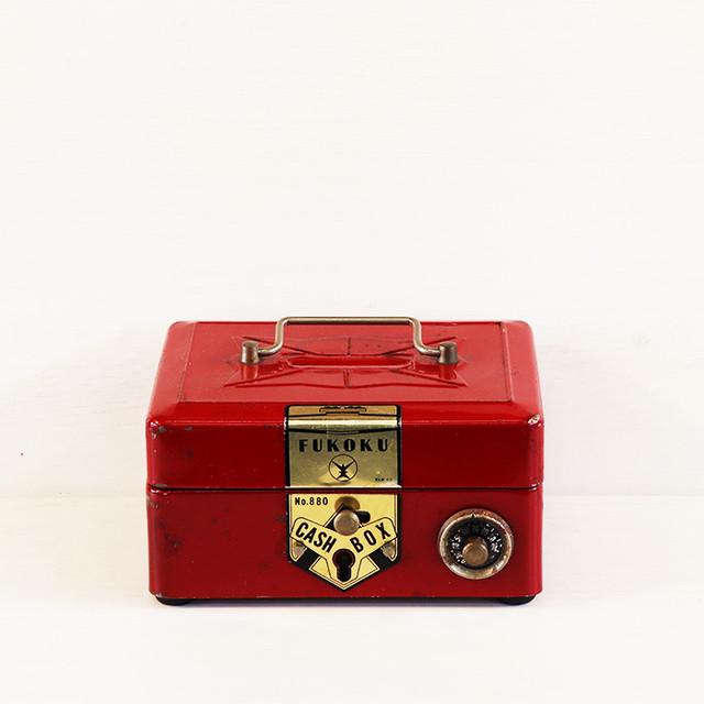 【V-170】ミニ金庫風 赤い貯金箱