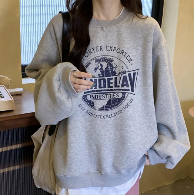 Earth logo print sweatshirts LD0570