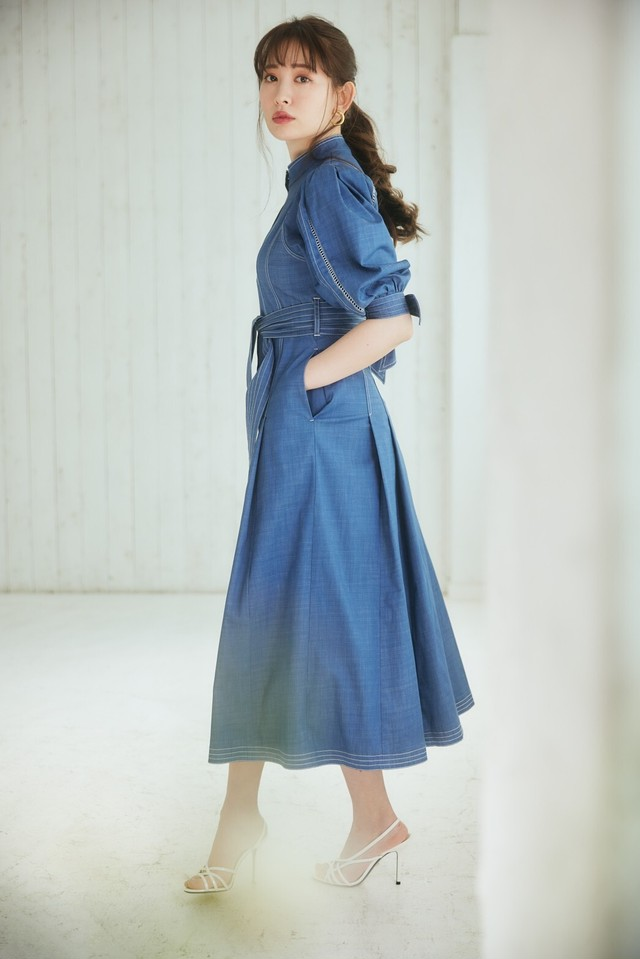 Chambray-trimmed Belted Long Dress
