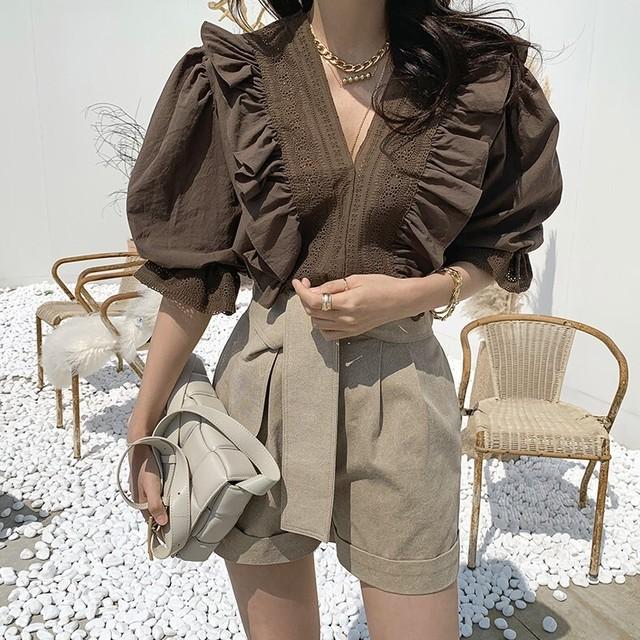 Big collar design blouse  KRE914