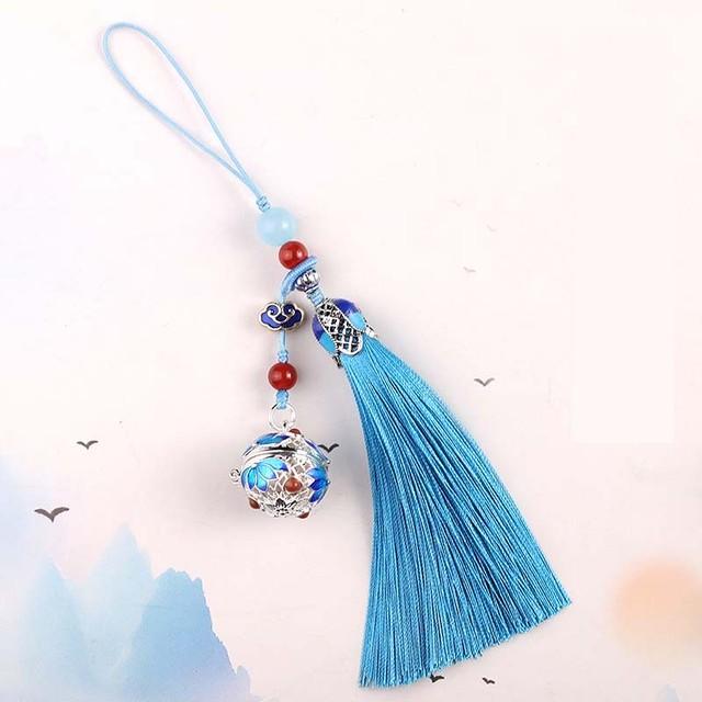 チャイナ風飾り物 つりひも 携帯用 カバン用 キーホルダー レトロ フリンジ 8colors アロマボール