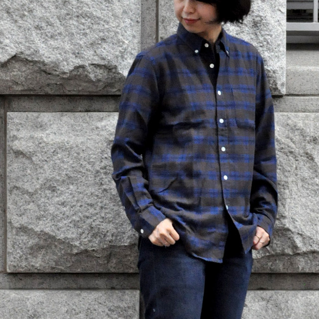 Portuguese flannel shirt - blue × brown check -