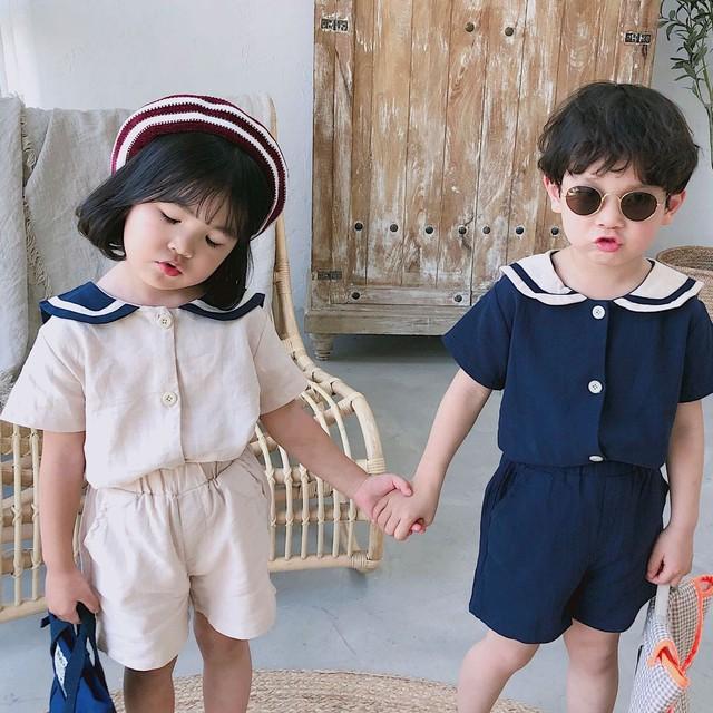 【セット】姉弟学園風柔らかい折り襟可愛い半袖セットアップ27719252