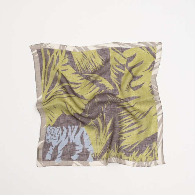 近江リネン 'Hide and Seek' Khaki リング付きミニスカーフ
