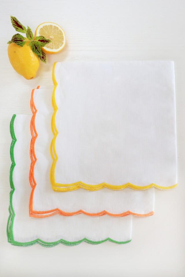 SCALLOP TRIM 刺繍ナプキン