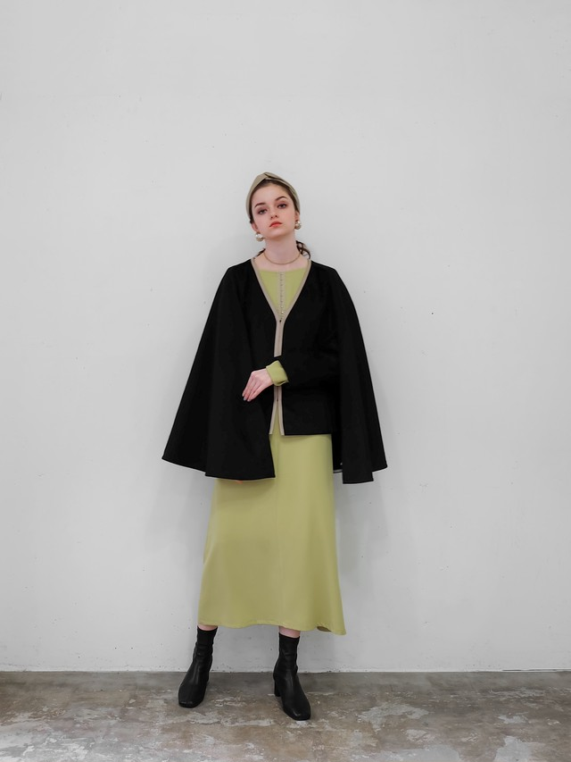 wool cape coat(black)