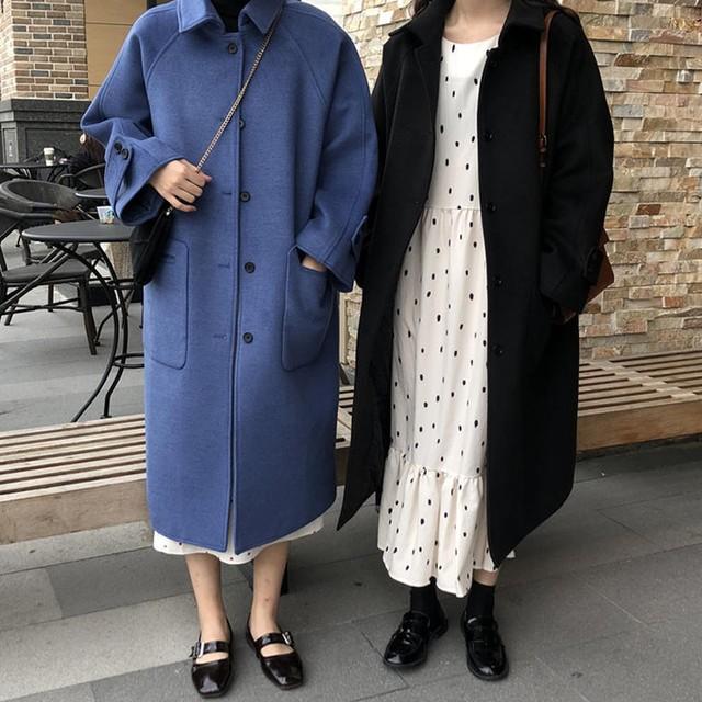 【送料無料】 上品見え 大人レディー♡ シンプル レトロ ステンカラー ウール ロング コート アウター