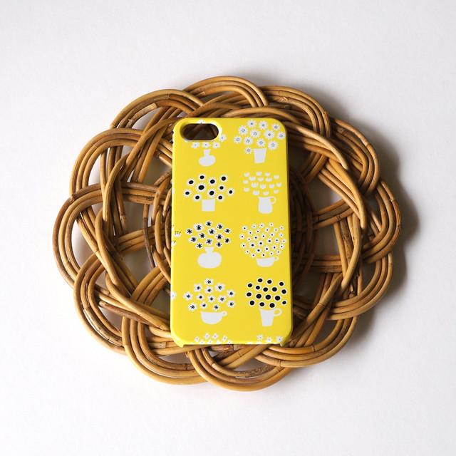 【iPhone / Android 各機種専用タイプ】側表面印刷*ハード型*スマホケース「flower base ( yellow )」● 受注生産