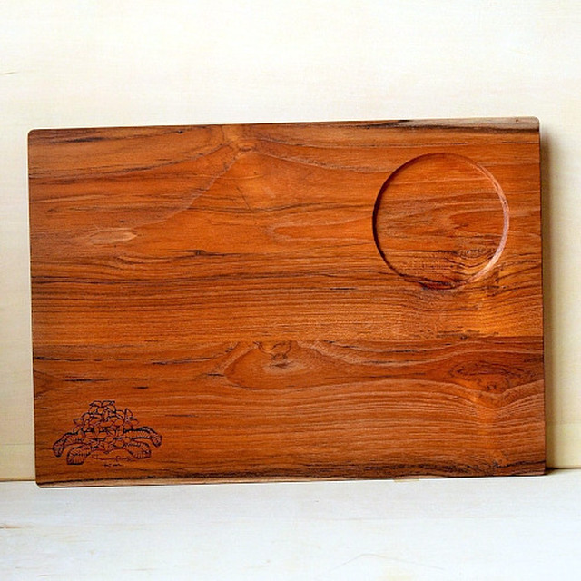 Wood Plate L [Plumeria One Point / wood:チーク] (オリーブオイル仕上げ) 【WP-PLU-O-L】