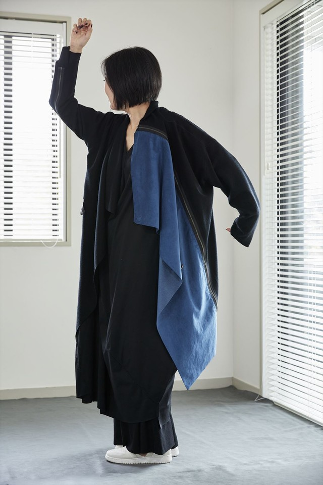 [着るアート ]BLACK COAT/STOLE (追加パネル付)【WOOLウール】[登録意匠][税/送料込]