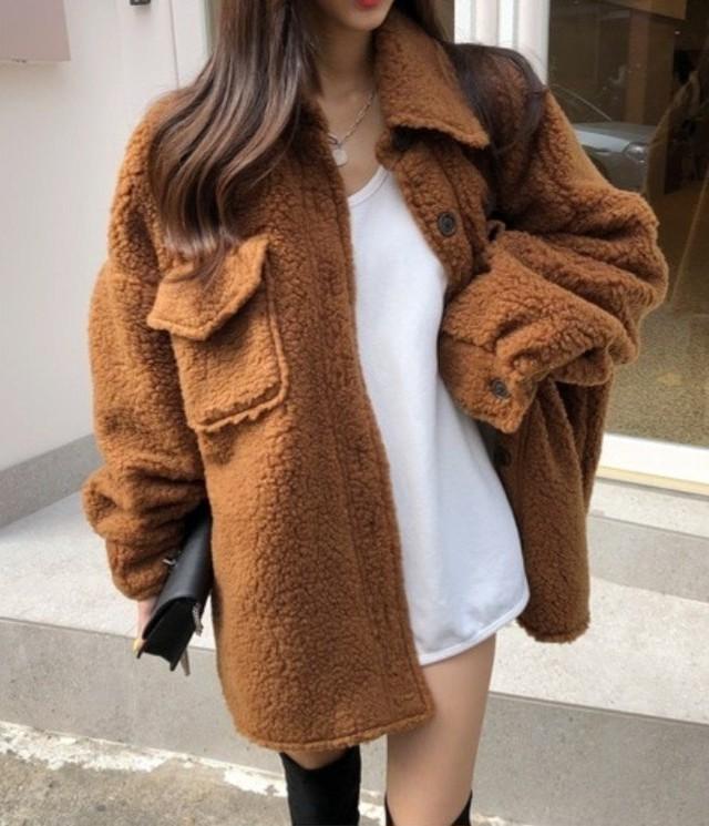 ブラウニーもこもこジャケット ジャケット 韓国ファッション