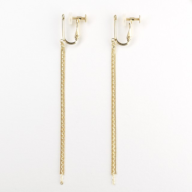 Gold mix chain earring