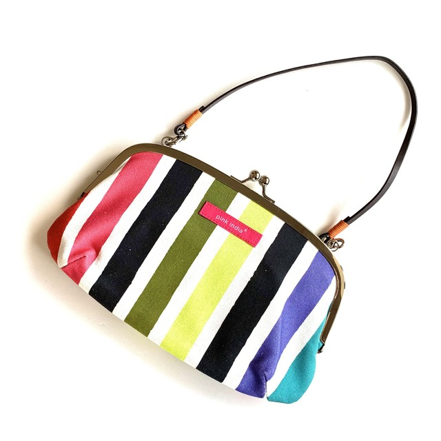 北欧デザイン ストラップ付がまぐち横長財布 | multi stripe