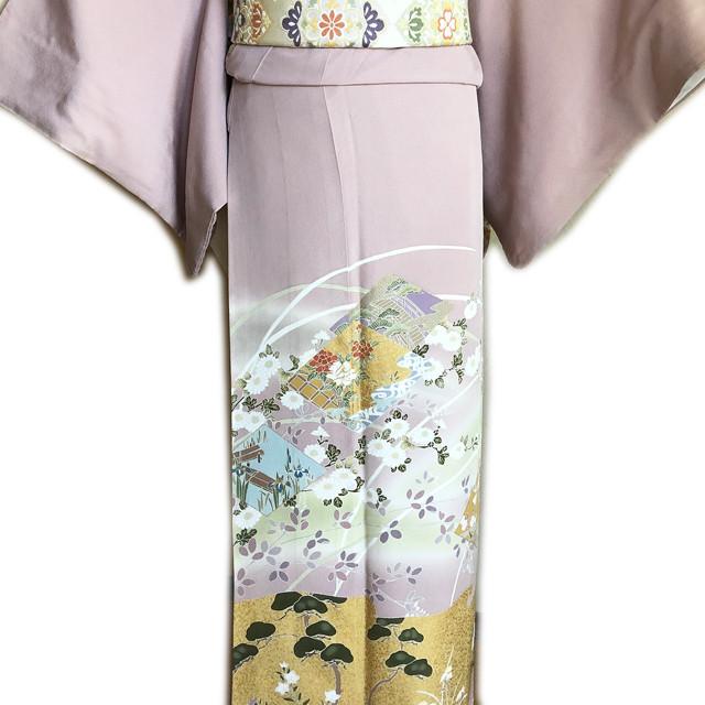 レンタル色留袖■押えた桃色地 牡丹や菖蒲金彩に松と桔梗柄■irotome4【往復送料無料】 - メイン画像