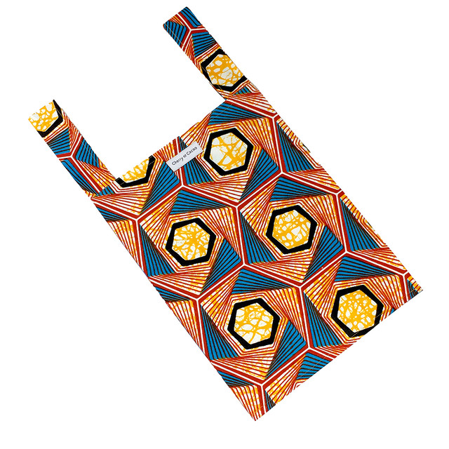 エコバッグ ハニカム オレンジ × ブルー × レッド(日本縫製)|レジバッグ サブバッグ 布バッグ 手さげ 買い物 旅行 トラベル アフリカンプリント アフリカンファブリック アフリカンバティック パーニュ キテンゲ アフリカ布 ガーナ布 エスニック