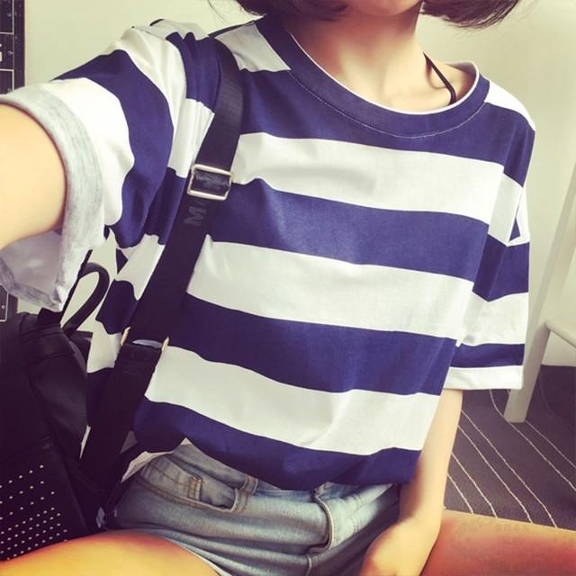 【tops】すがすがしいストライプ柄ゆるっと感じカラー豊富Tシャツ 22558002