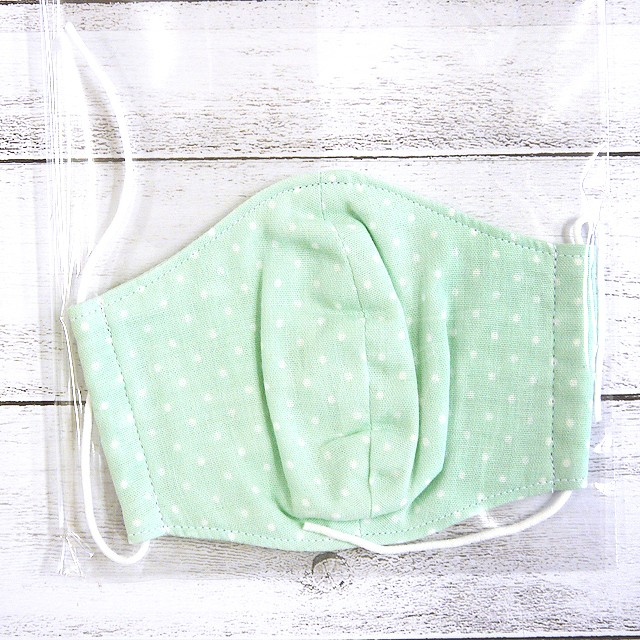 【Ranunculus】立体布マスク(緑ドット)・キッズ~レディースサイズ/マスク