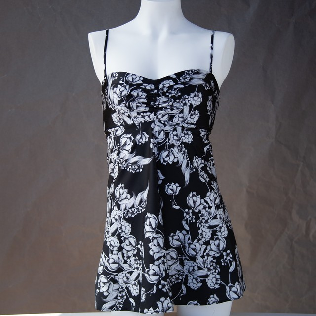 SWIM SWD002 カップ付きドレス Black print x Black
