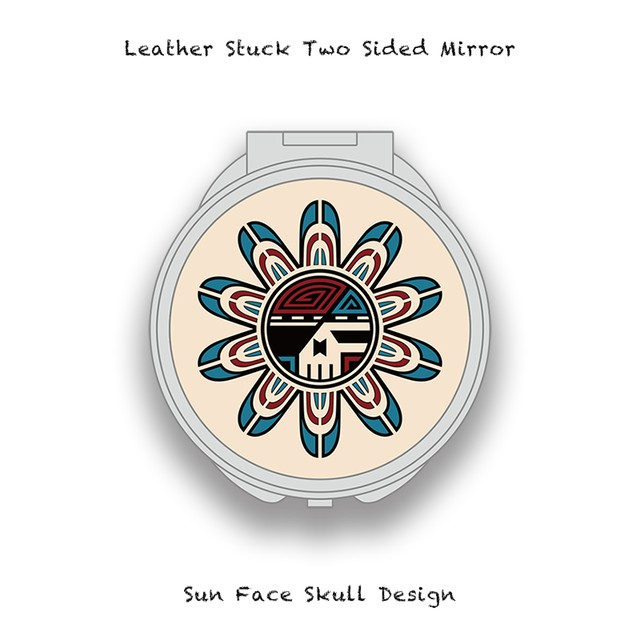 Leather Stuck Two Sided Mirror / Sun Face Skull Design 001