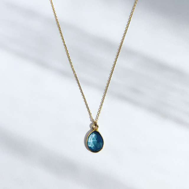 London Blue Topaz Earth Prism Necklace / K10YG