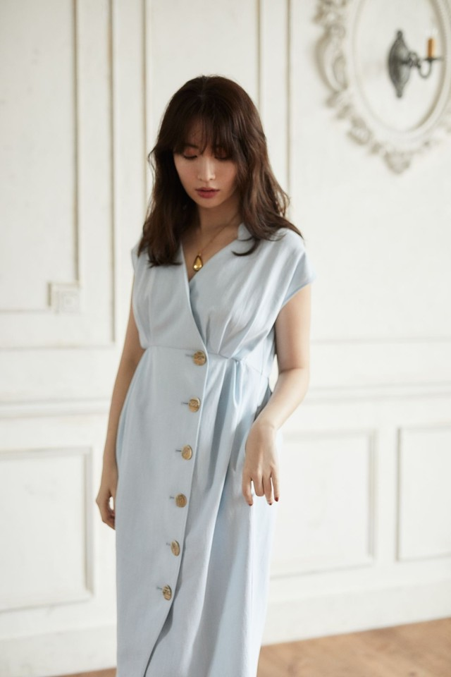 Denim Wrap-effect Midi Dress