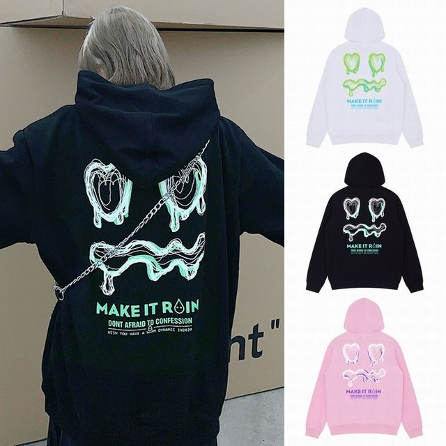 ユニセックス パーカー プラスベルベット プルオーバー バックプリント 長袖 オーバーサイズ 韓国ファッション メンズ レディース 男女兼用 大きめ カジュアル ストリート / Hand-painted print hooded loose sweater (DTC-628693420250)