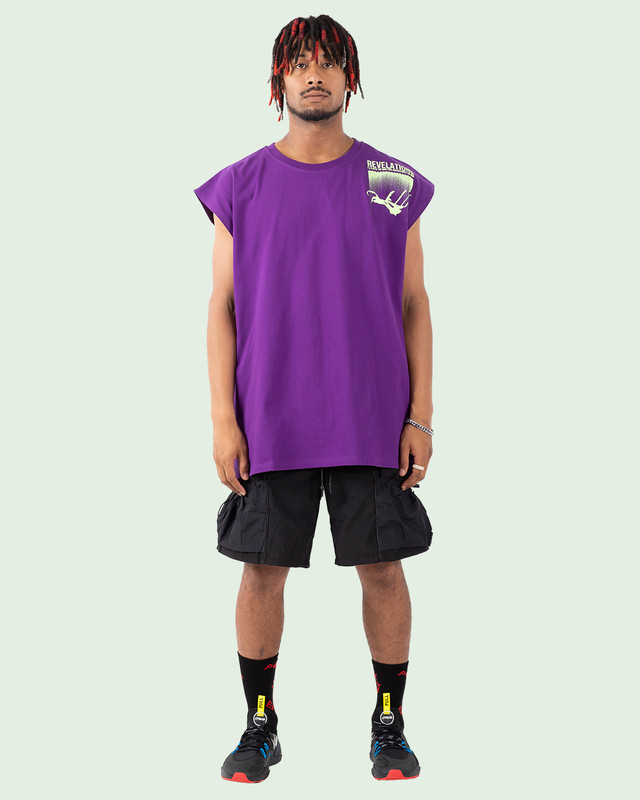 OVERSIZED REFLECTIVE REVELATIONS N/S TEE PURPLE