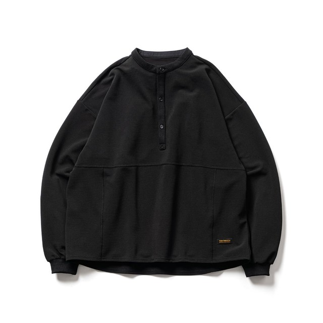 TIGHTBOOTH BAND COLLAR RIPPLE SHIRT BLACK
