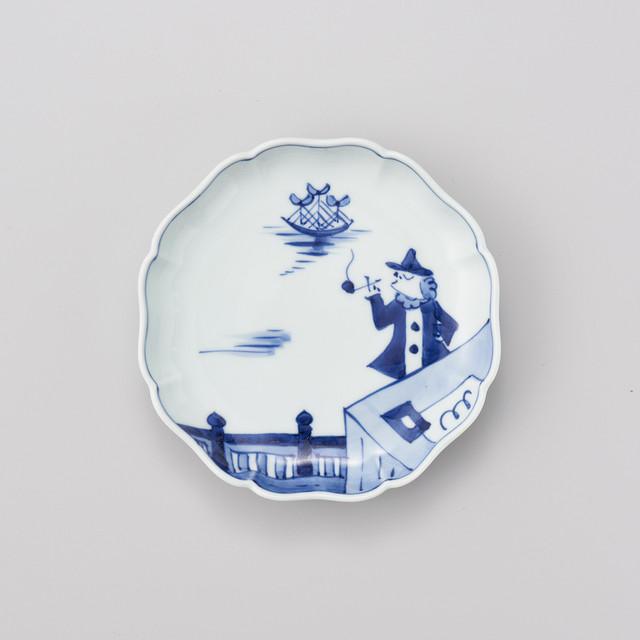 """【青花】""""船と異人"""" 八方割15cmプレート(便り異人)"""