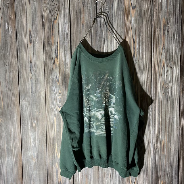 [used]wild wolf dark green sweat