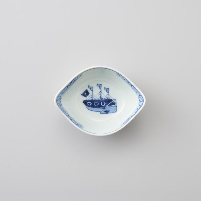 【青花】オランダ船 舟型小鉢