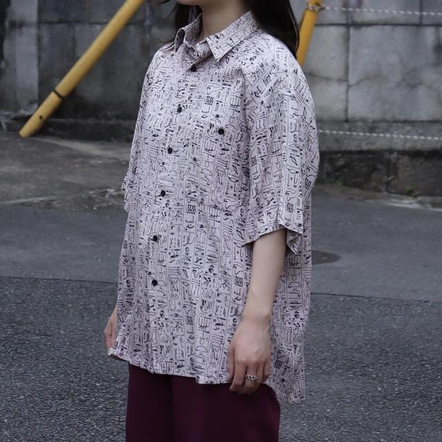 """1980s  """" KASTOR """"   S/S   Design  Shirts   L A243"""