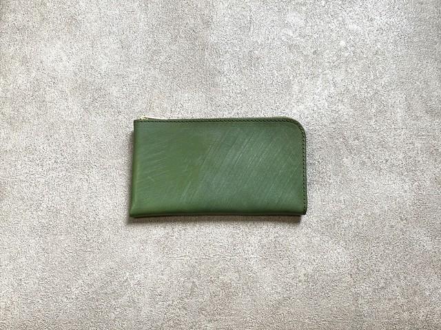 SHOZOウォレット(ヌメ革ロウ引き):グリーン ※「アジア・パシフィック・レザー・フェア2019」革小物部門グランプリ受賞商品