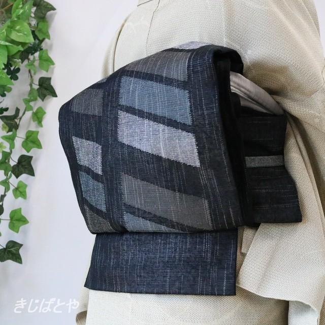 正絹紗 クリーム色に鉄線の夏袋帯