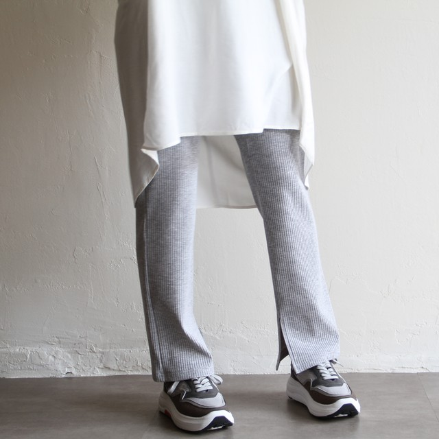 PARLMASEL【 womens 】rib slit pants