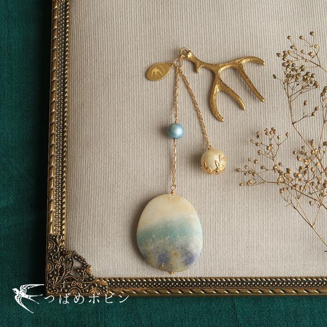天然石とパールの帯飾り《トリオライト/A》