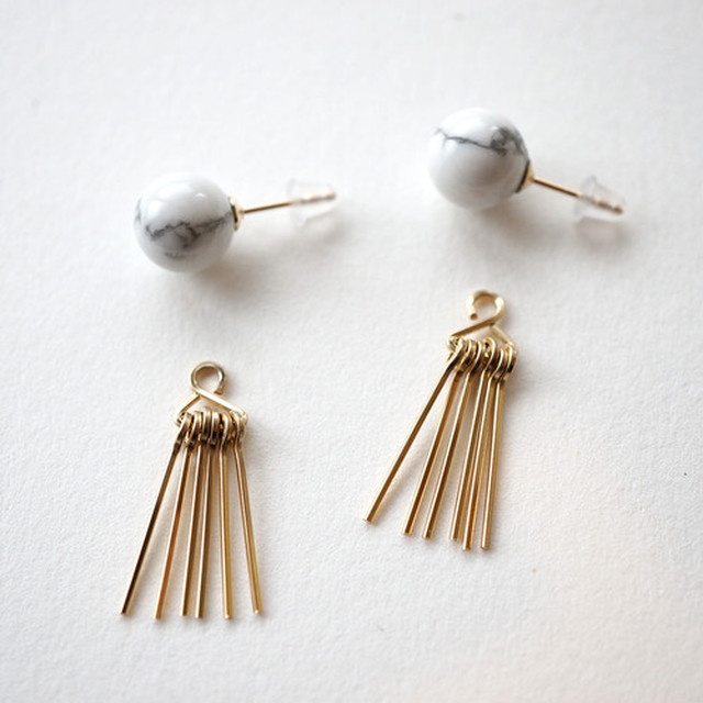 【MUUTS】Howlite&fringe pierce